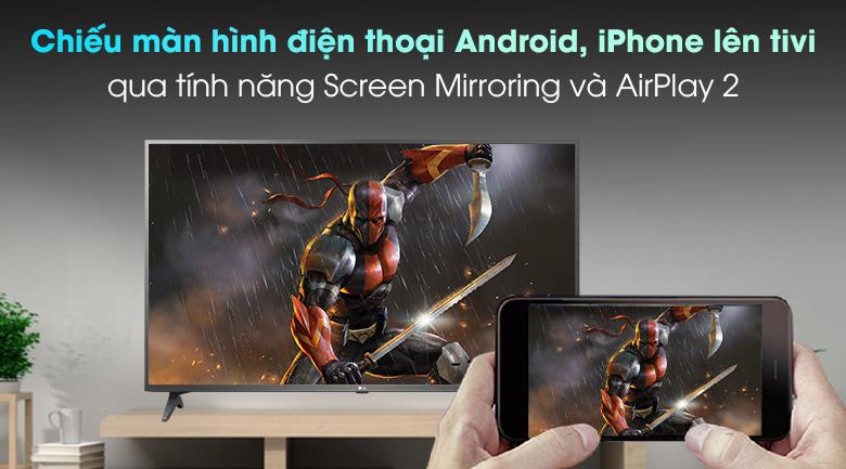 Smart Tivi LG 4K 50 inch 50UP7750PTB - Chiếu màn hình điện thoại lên Smart tivi LG nhờ tính năng AirPlay 2 (iPhone) và Screen Mirroring (Android)