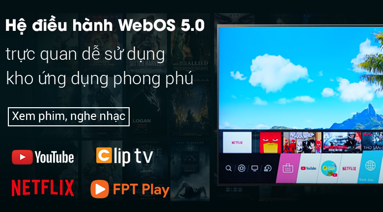 Smart Tivi OLED LG 4K 55 inch 55A1PTA hệ điều hành