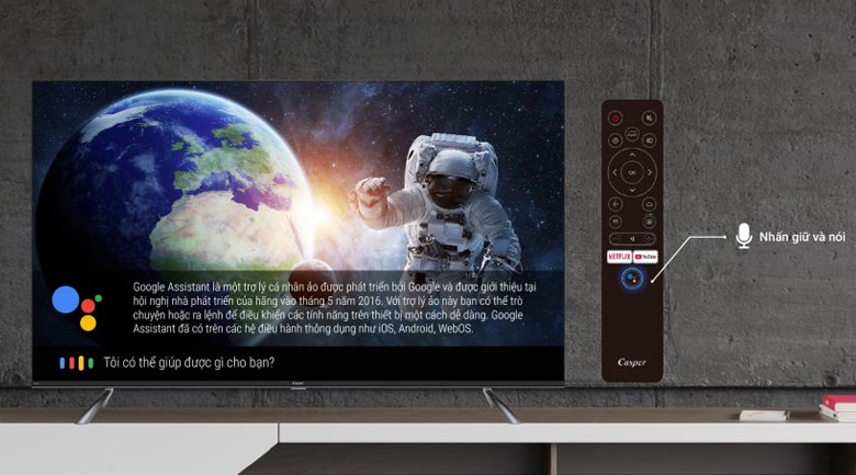 Android Tivi Led Casper 4K 55 inch 55UG6300 - Điều khiển, tìm kiếm bằng giọng nói hỗ trợ tiếng Việt tiện lợi cùng remote thông minh và trợ lý ảo Google Assistant