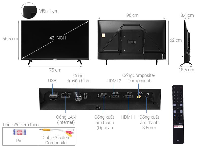 Android Tivi TCL 43 inch L43S5200 - thông số kỹ thuật