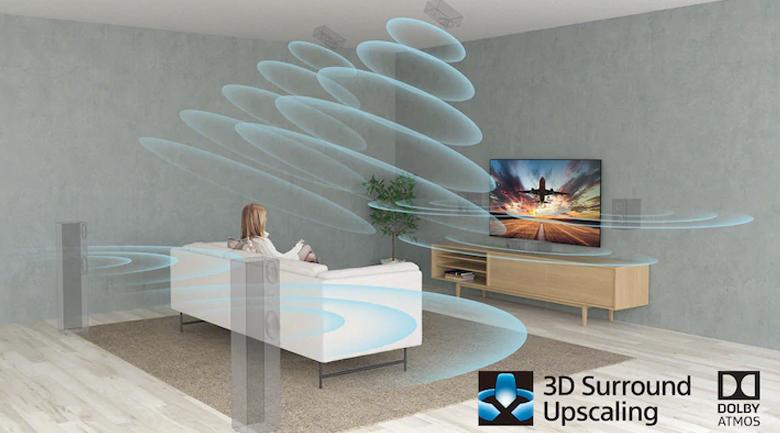 Tivi LED Sony KD-65X95J - Tất cả các nội dung bạn xem được nâng cấp lên âm thanh vòm nhờ công nghệ nâng cấp âm thanh vòm 3D