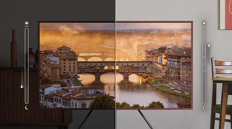 Smart Tivi Khung Tranh The Frame QLED Samsung 4K 75 inch QA75LS03A - Tối ưu độ sáng khung hình theo điều kiện môi trường bên ngoài