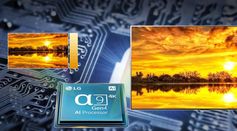 Chip α9 Gen4 AI Processor 4K mang lại hình ảnh chi tiết, sắc nét - Smart tivi OLED LG 4K 77 inch 77C1PTB