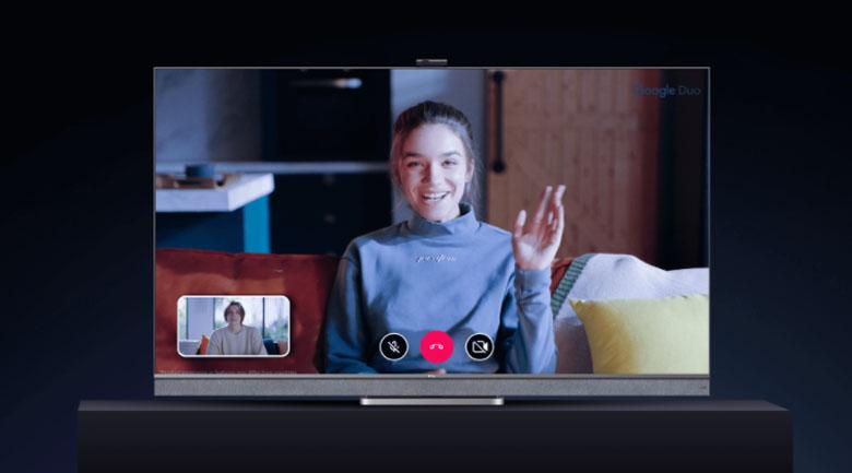 Tích hợp Magic Camera cho bạn gọi video trực tuyến dễ dàng với ứng dụng Google Duo - Android Tivi Mini LED TCL 4K 65 inch 65C825