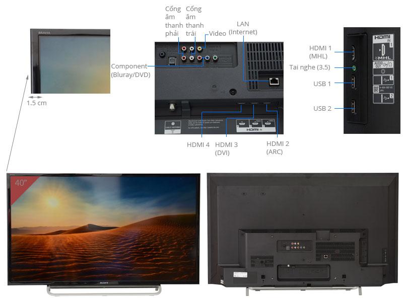 Thông số kỹ thuật INTERNET TIVI LED SONY KDL-40W600B 40 INCH