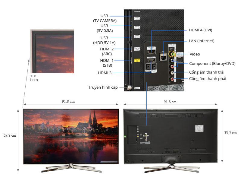 Thông số kỹ thuật Smart Tivi 3D LED Samsung UA40H6400 40 inch