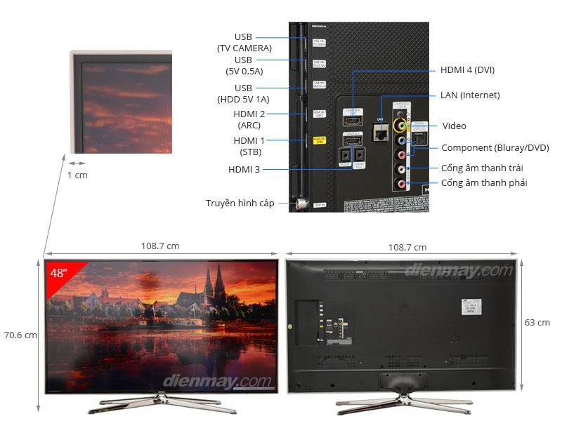 Thông số kỹ thuật Smart Tivi 3D LED Samsung UA48H6400 48 inch