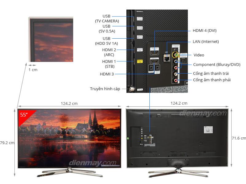 Thông số kỹ thuật Smart Tivi 3D LED Samsung UA55H6400 55 inch