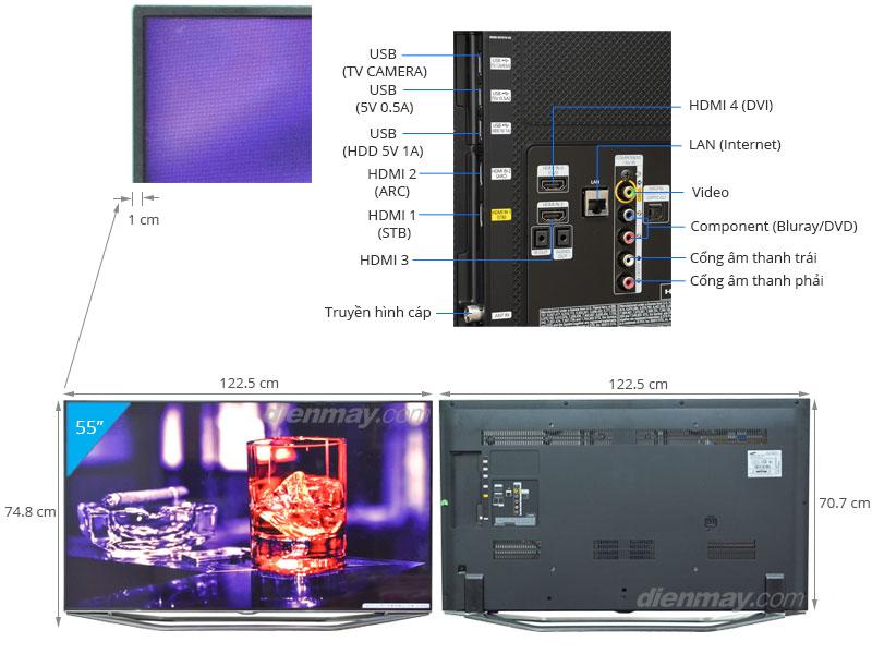 Thông số kỹ thuật Smart Tivi 3D LED Samsung UA55H7000 55 inch