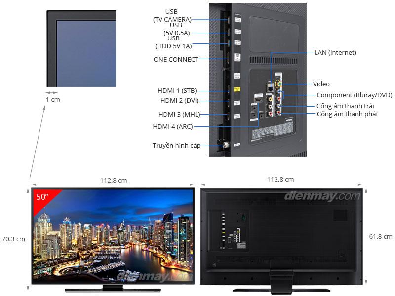 Thông số kỹ thuật Smart Tivi LED Samsung UA50HU7000 50 inch
