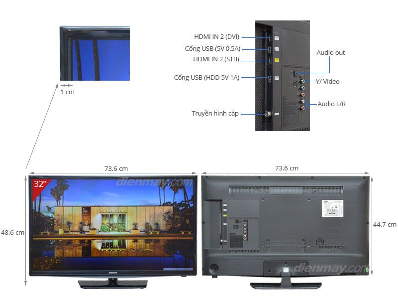 Thông số kỹ thuật Tivi LED Samsung UA32H4100AK 32 inch