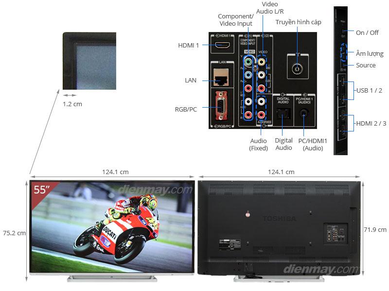 Thông số kỹ thuật Smart Tivi Toshiba 55 inch 55L5450