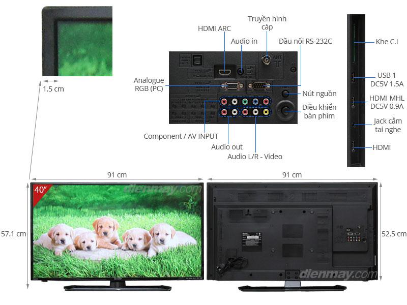 Thông số kỹ thuật Tivi LED Sharp LC-40LE265X 40 inch