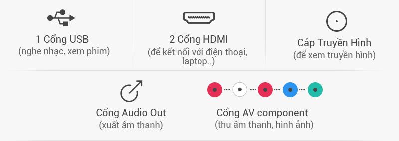 Tivi LED Samsung UA32J4100 32 inch - Kết nối đa dạng cho phép chia sẻ nội dung với nhiều thiết bị khác như laptop, USB,…