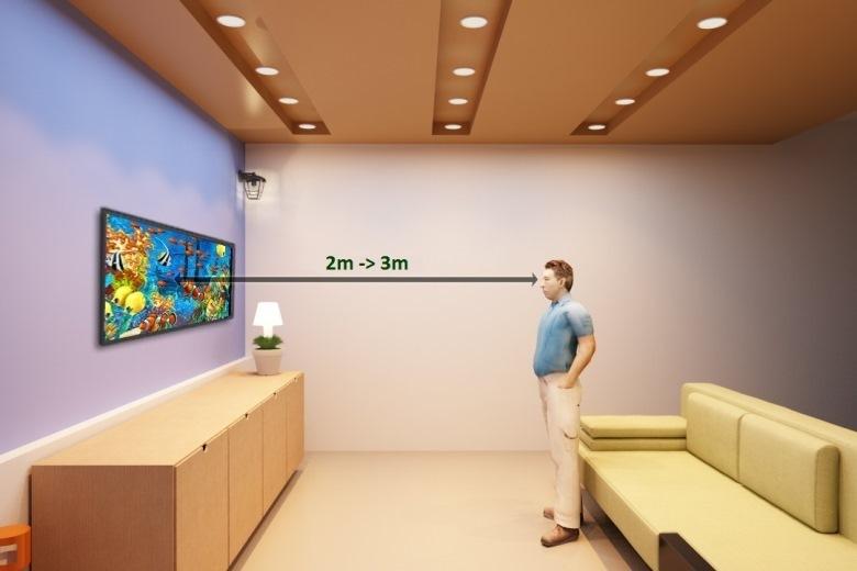 Khoảng cách tốt nhất để xem tivi này là 2 – 3m