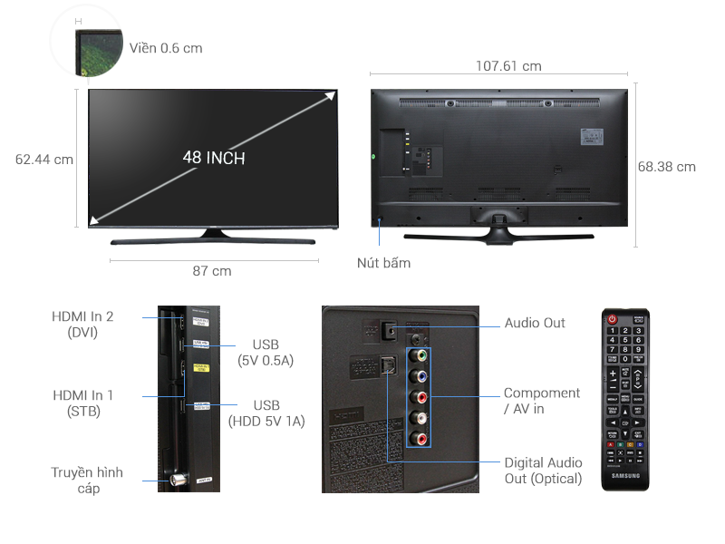 Thông số kỹ thuật Tivi Samsung 48 inch UA48J5100