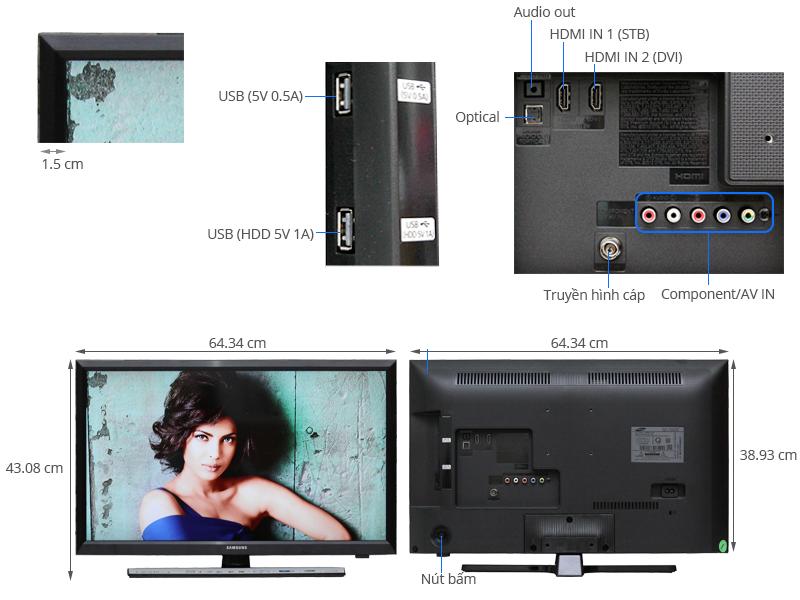 Thông số kỹ thuật Tivi Samsung28 inch UA28J4100