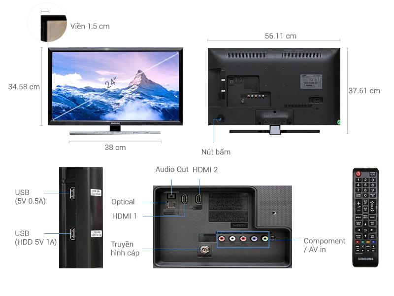 Thông số kỹ thuật Tivi Samsung24 inch UA24J4100