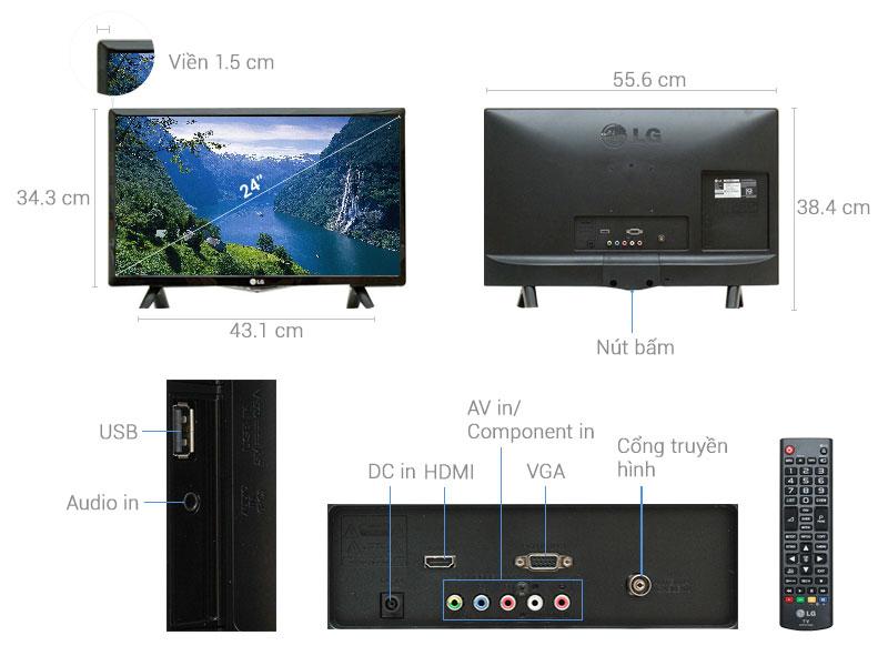 Thông số kỹ thuật Tivi LG 24 inch 24LF450D