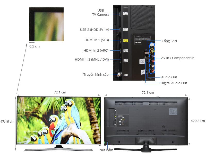 Thông số kỹ thuật Smart Tivi Samsung 32 inch UA32J5500