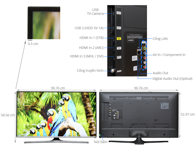 Thông số kỹ thuật Smart Tivi Samsung 40 inch UA40J5500