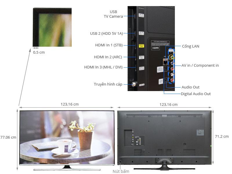 Thông số kỹ thuật Smart Tivi Samsung 55 inch UA55J5500