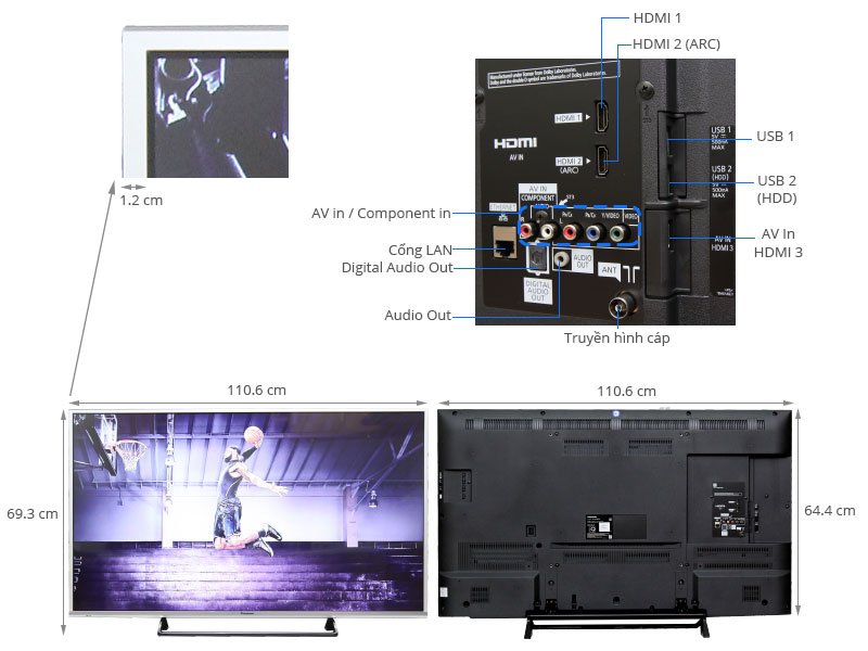 Thông số kỹ thuật Smart Tivi LED Panasonic TH-49CS630V 49 inch
