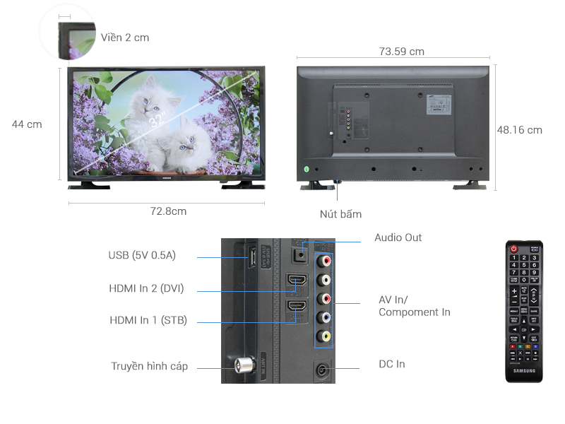 Thông số kỹ thuật Tivi Samsung32 inch UA32J4003