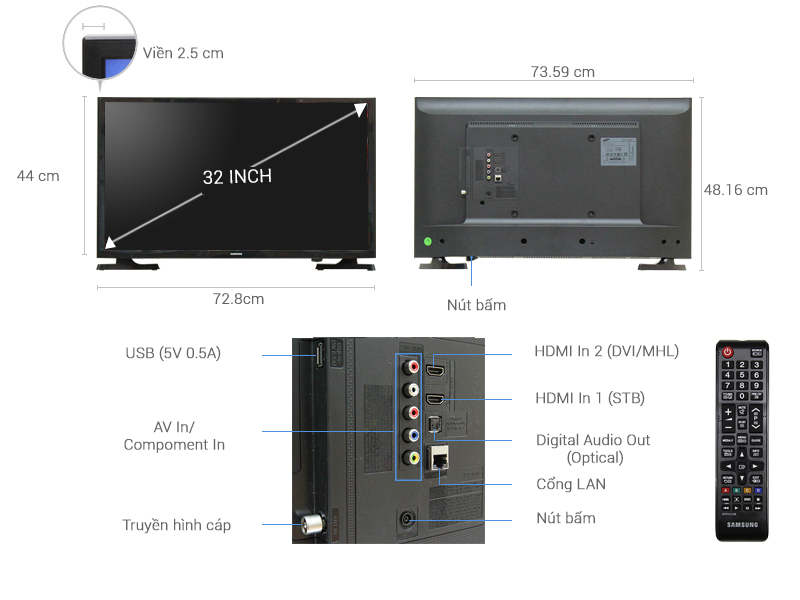 Thông số kỹ thuật Internet Tivi Samsung32 inch UA32J4303