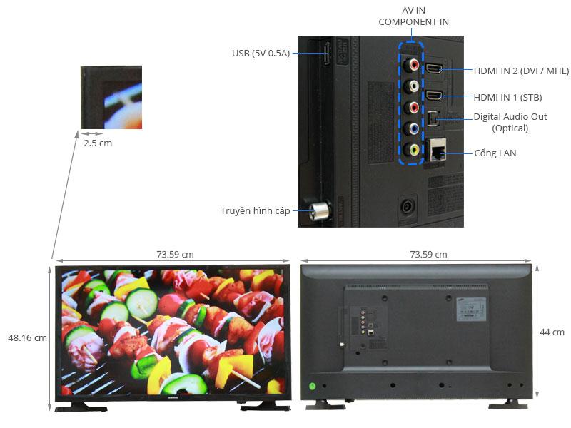 Thông số kỹ thuật Internet Tivi LED SamsungUA32J4303 32 inch