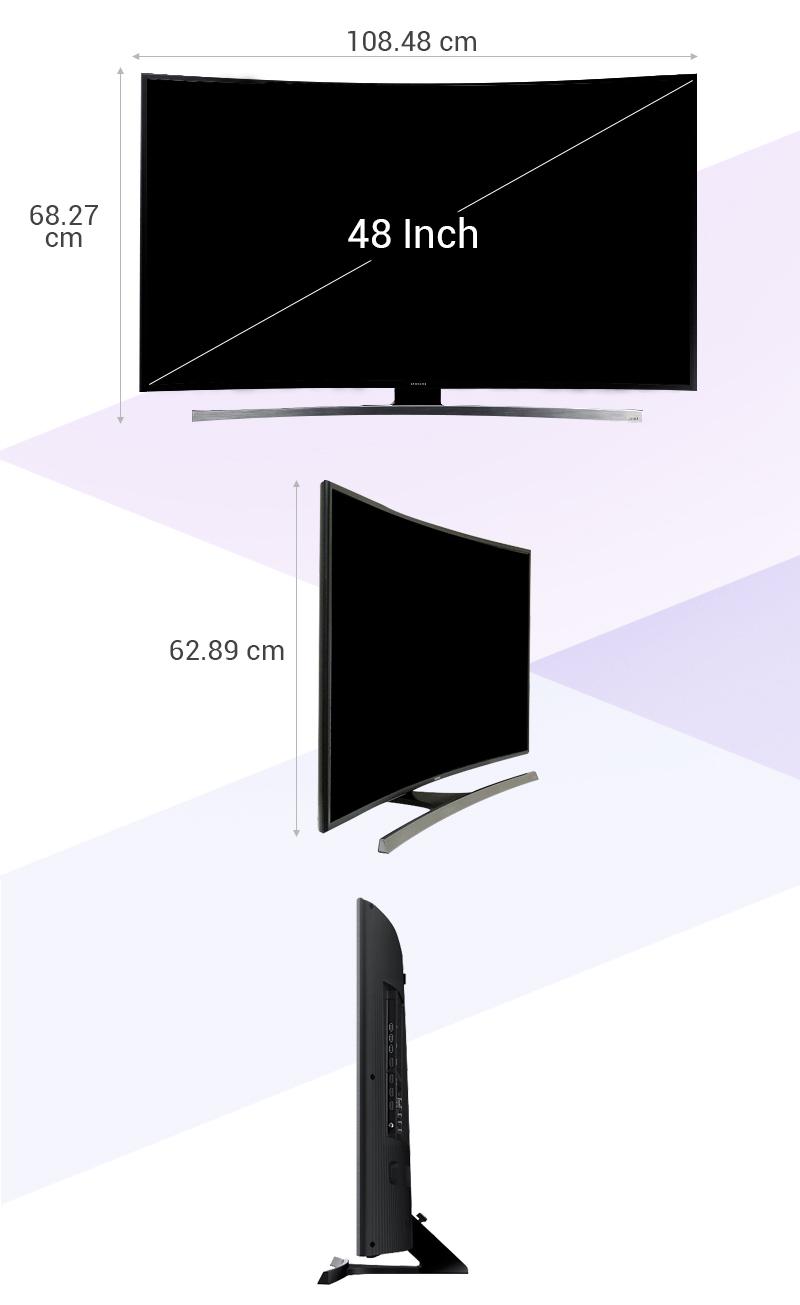 Smart Tivi Cong 48 inch Samsung UA48JU6600 - Kích thước tivi