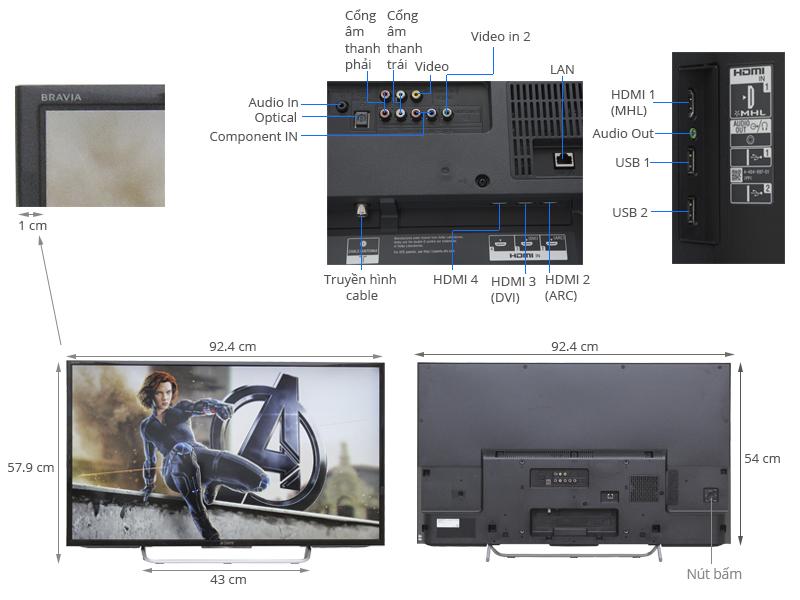 Thông số kỹ thuật Internet Tivi Sony 40 inch KDL-40W700C