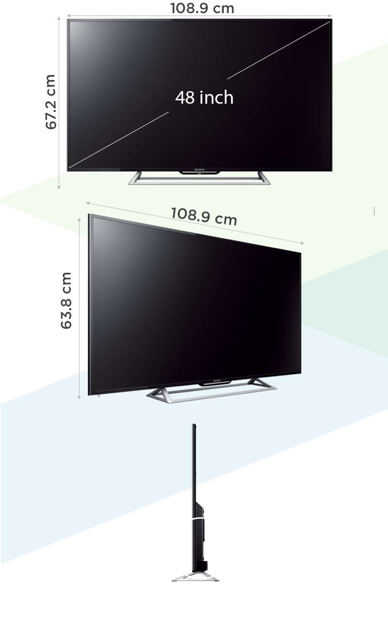 Internet Tivi Sony 48 inch KDL-48R550C - Kích thước