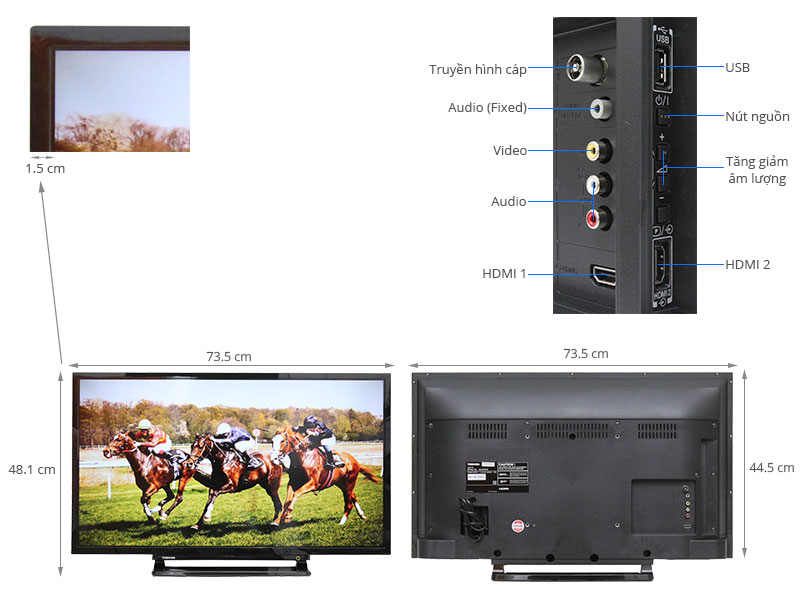 Thông số kỹ thuật Tivi Toshiba 32 inch 32L2550