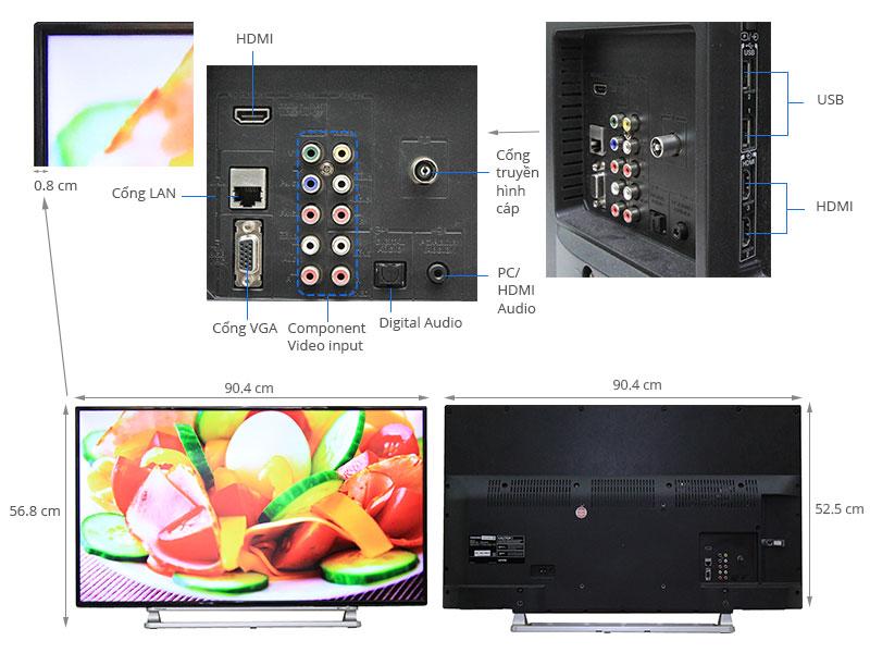 Thông số kỹ thuật Smart Tivi Toshiba 40 inch 40L5550