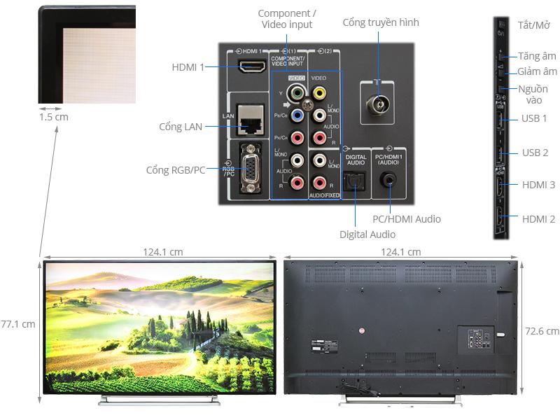 Thông số kỹ thuật Smart Tivi Toshiba 55 inch 55L5550