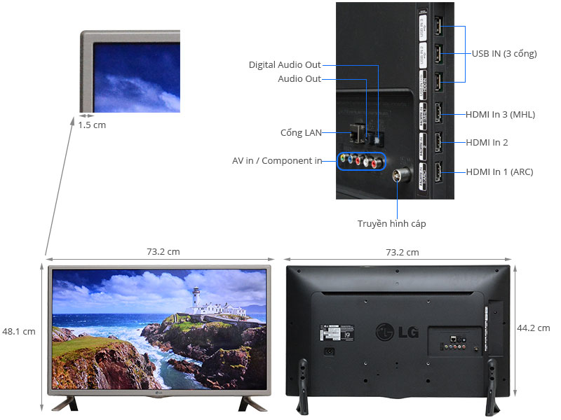 Thông số kỹ thuật Smart Tivi LED LG 32LF581D 32 inch