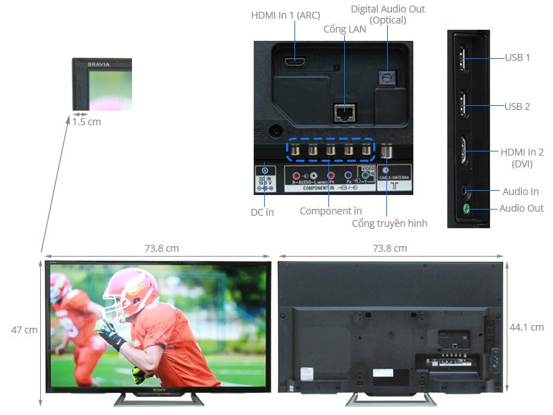 Thông số kỹ thuật Internet Tivi Sony 32 inch KDL-32R500C