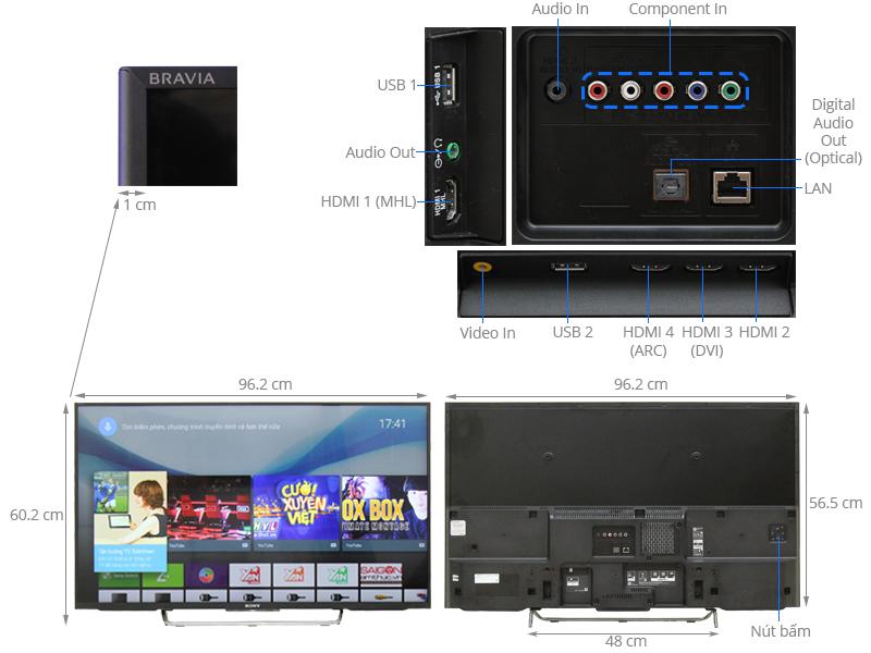 Thông số kỹ thuật Android Tivi Sony 43 inch KDL-43W800C