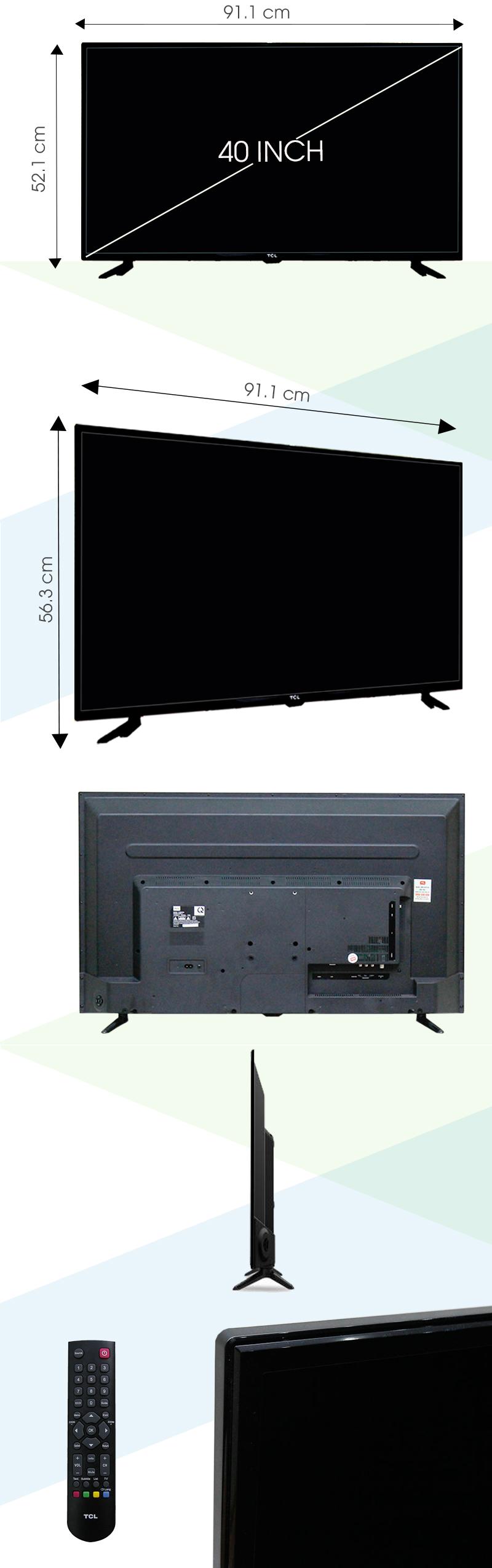 Tivi TCL 40 inch L40D2700D - Kích thước tivi