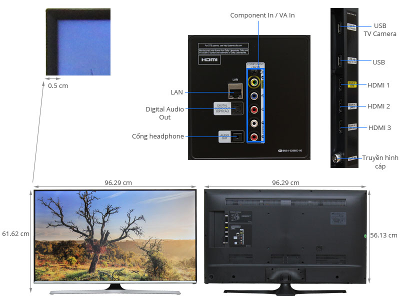 Thông số kỹ thuật Smart Tivi LED Samsung UA43J5520 43 inch