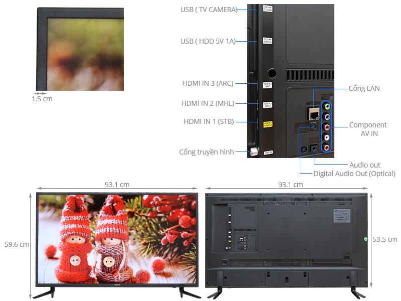 Thông số kỹ thuật Smart Tivi 40 inch Samsung UA40JU6000