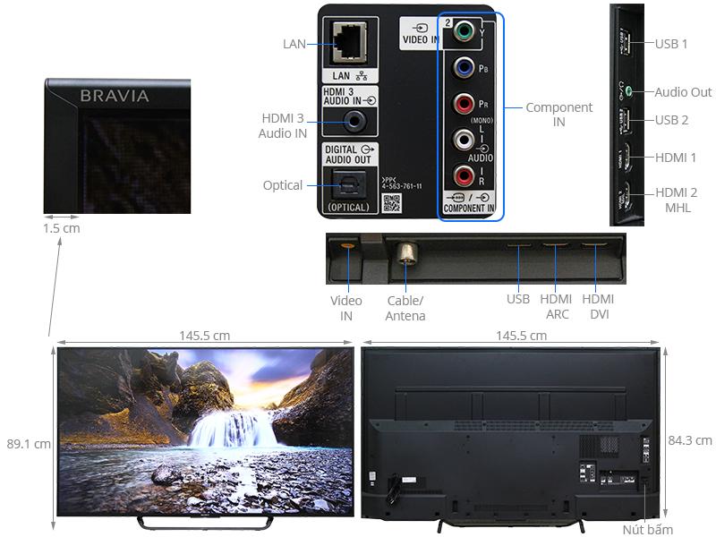 Thông số kỹ thuật Smart Tivi Sony 65 inch KDL-65W850C