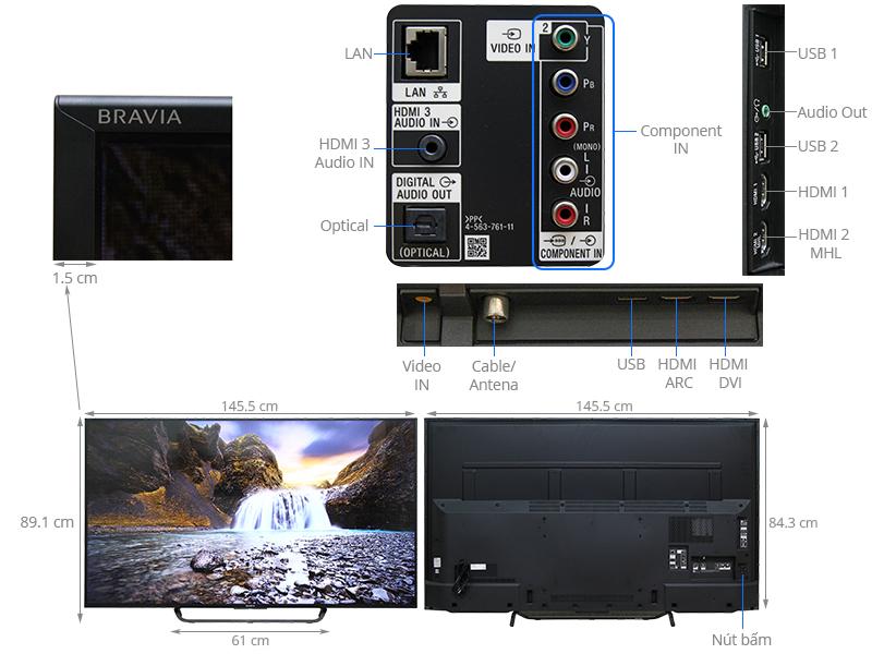 Thông số kỹ thuật Android Tivi Sony 65 inch KDL-65W850C