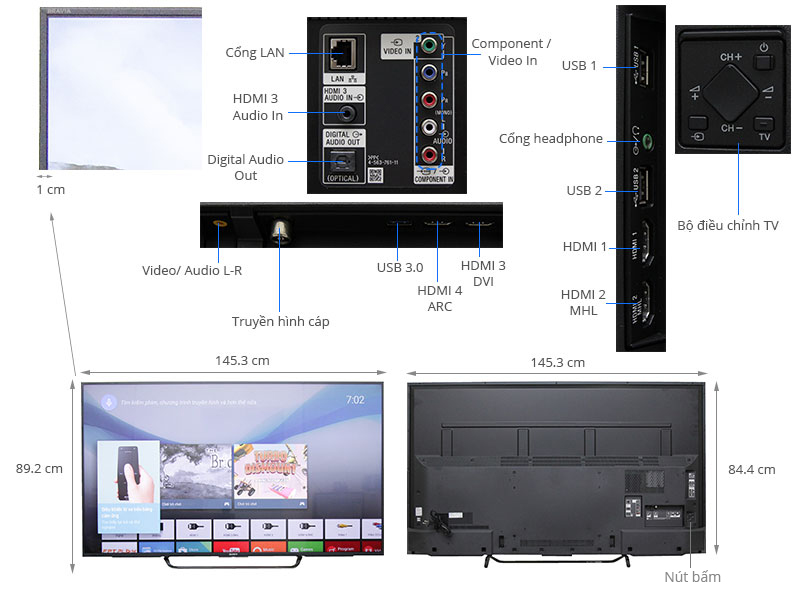 Thông số kỹ thuật Smart Tivi Sony 65 inch KD-65X8500C