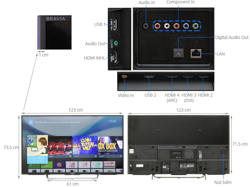 Thông số kỹ thuật Android Tivi Sony 55 inch KDL-55W800C