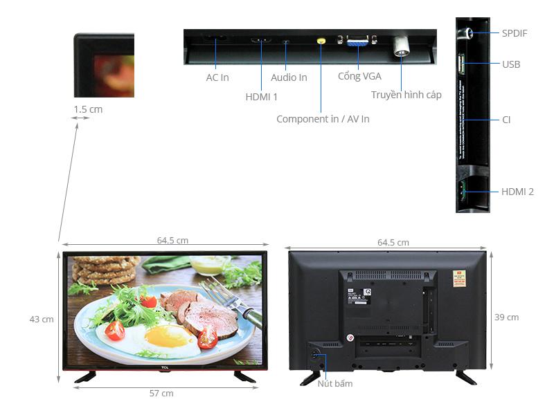 Thông số kỹ thuật Tivi TCL 28 inch L28D2700D
