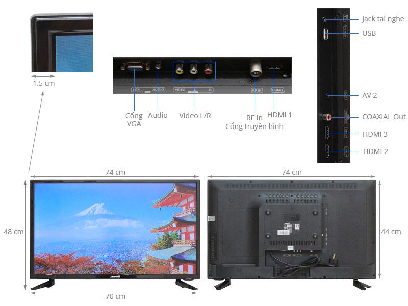 Thông số kỹ thuật Tivi Asanzo 32 inch 32S510T2