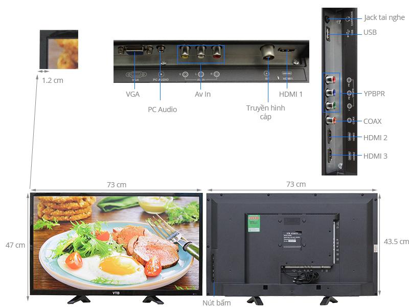 Thông số kỹ thuật Tivi VTB 32 inch LV3269