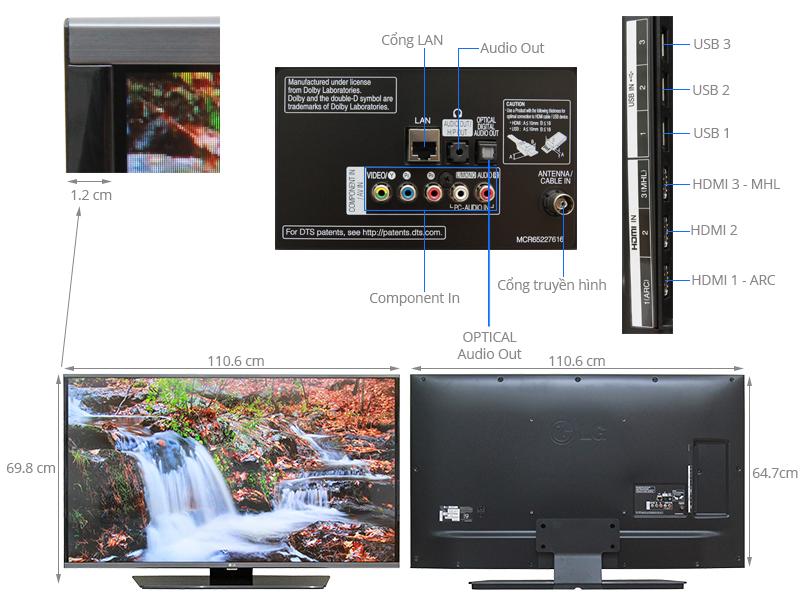 Thông số kỹ thuật Smart Tivi LG  49 inch 49LF632T